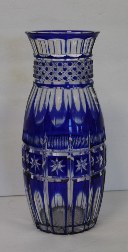 American Blue Cut To Clear Glass Vase Lot 38 Cut Crystal