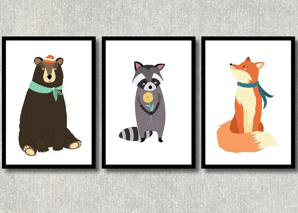 Details zu Kinderzimmer Bilder Set Wald Tiere Bär