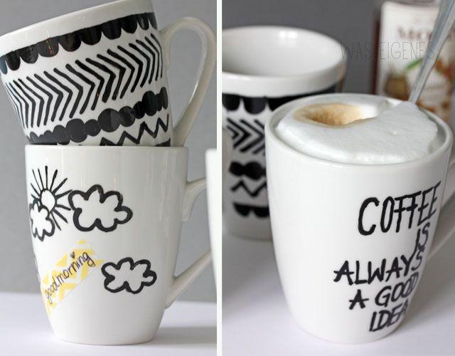 was eigenes diy painted mugs good morning porcelain painter diy painting porcelain. Black Bedroom Furniture Sets. Home Design Ideas