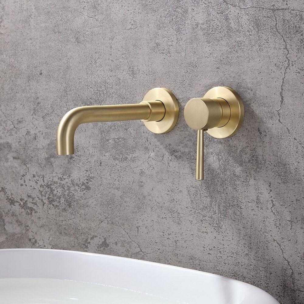 Moderne Robinet Mitigeur Pivotant Mural De Lavabo De Salle De Bains Laiton Brosse Bathroom Mixer Taps Wall Mount Faucet Bathroom Brass Bathroom