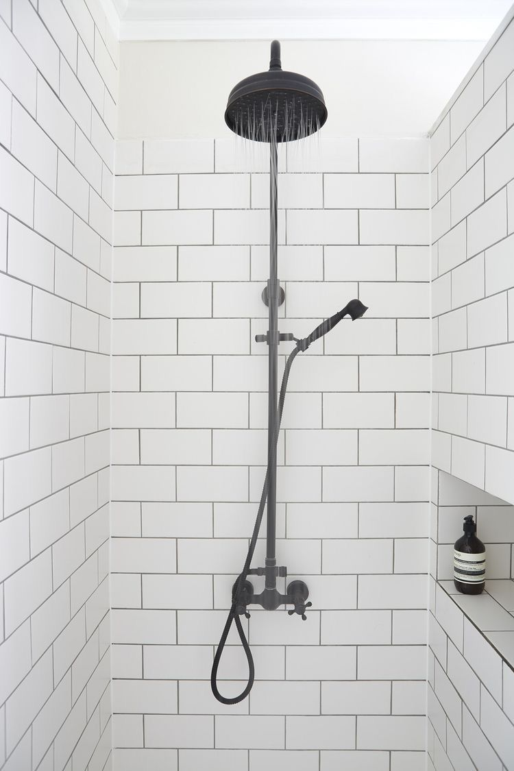 Love white subway tile with gray grout shower heads pinterest love white subway tile with gray grout plus black shower fitting doublecrazyfo Image collections