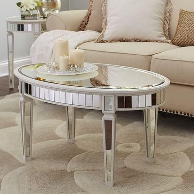 Oval Mirrored Panels Antique White Table In 2019