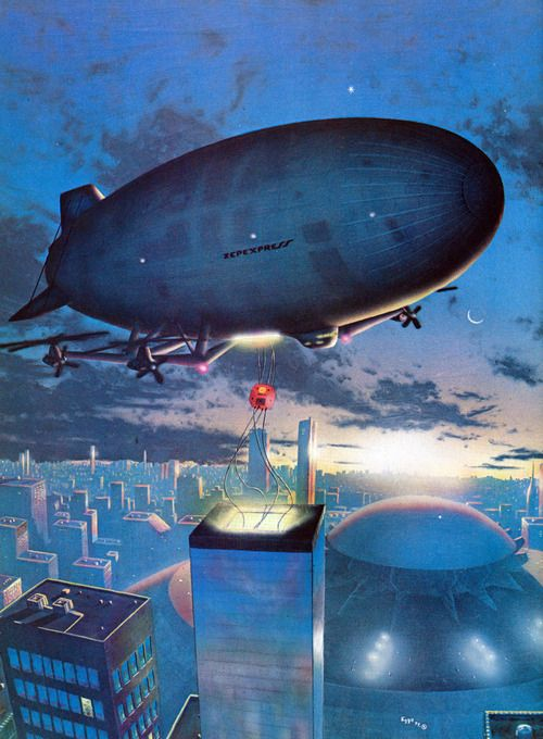 Blimp painting by David Egge for an article in Future Life magazine Dec 1979