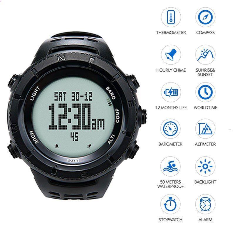 EZON multifunktionell vandringsklocka män sport digitala klockor simma  höjdmätare barometer kompass tryck termometer klättring klocka 9ddeb00f65907