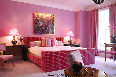 A Monochromatic Color Scheme In Light Pink And Hot Pink The Room Creates A Girly Feel Perfect Fo Small Bedroom Decor Girls Room Design Romantic Bedroom Colors
