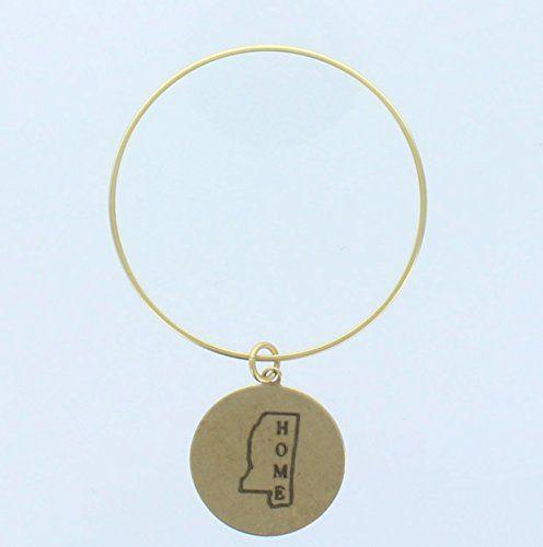 "Women's Gold Engraved Mississippi State ""Home"" Bangle Bracelet. Mississippi Disk Charm. TS001 http://www.amazon.com/dp/B00N53FD7E/ref=cm_sw_r_pi_dp_abwhvb0GNQGQV"