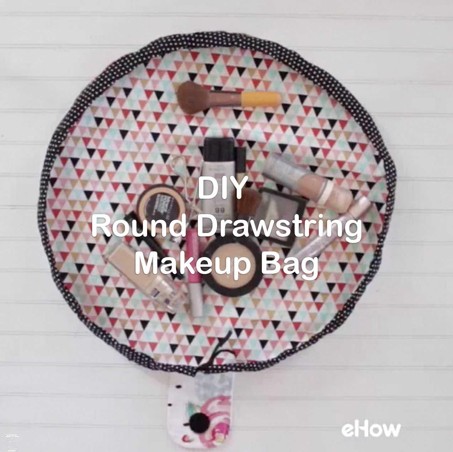 DIY Round Drawstring Makeup Bag in 2020 (With images