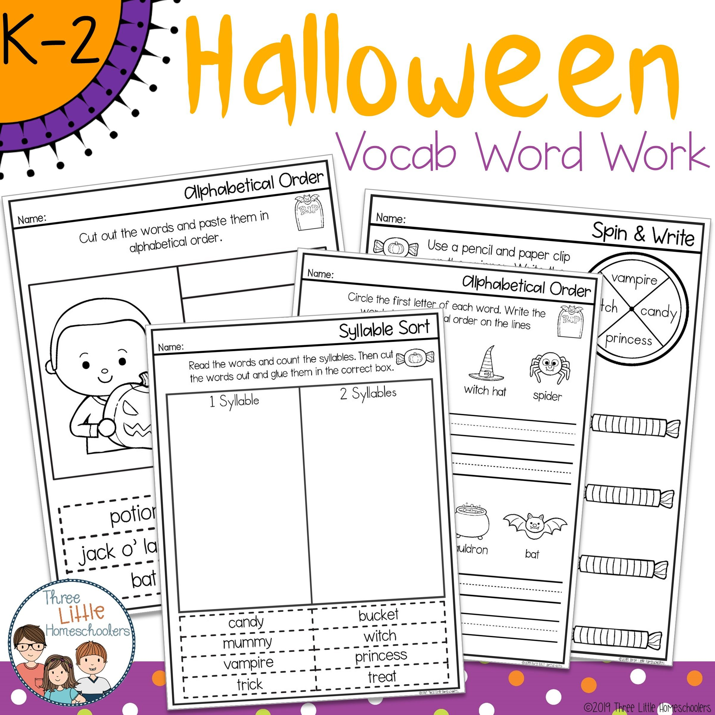 Halloween Spelling Word Work Pack