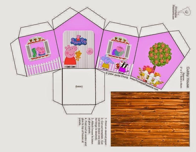 Maison Peppa Pig: Caja con Forma de Casa para Imprimir Gratis.