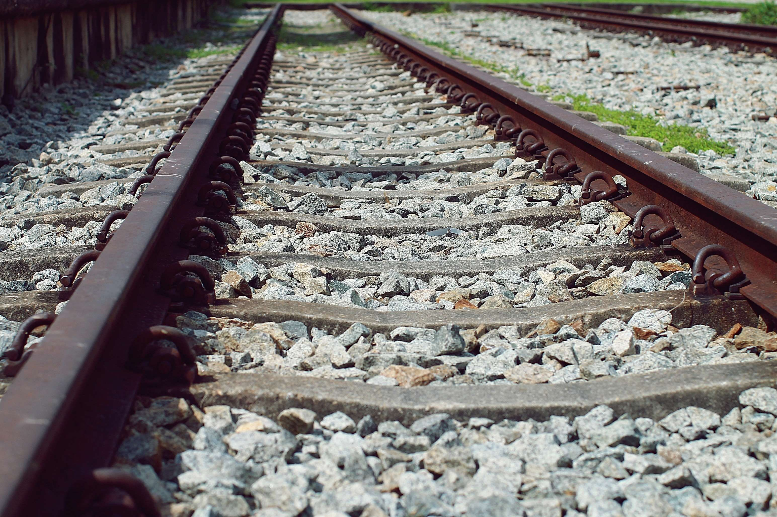 close up gravel iron metal perspective railroad railroad