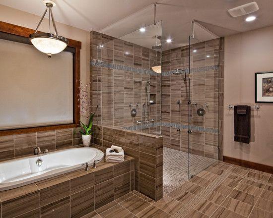 Glass Tile Backsplash Pictures Bathroom: Dark Grey Backsplash And Floor Ceramic