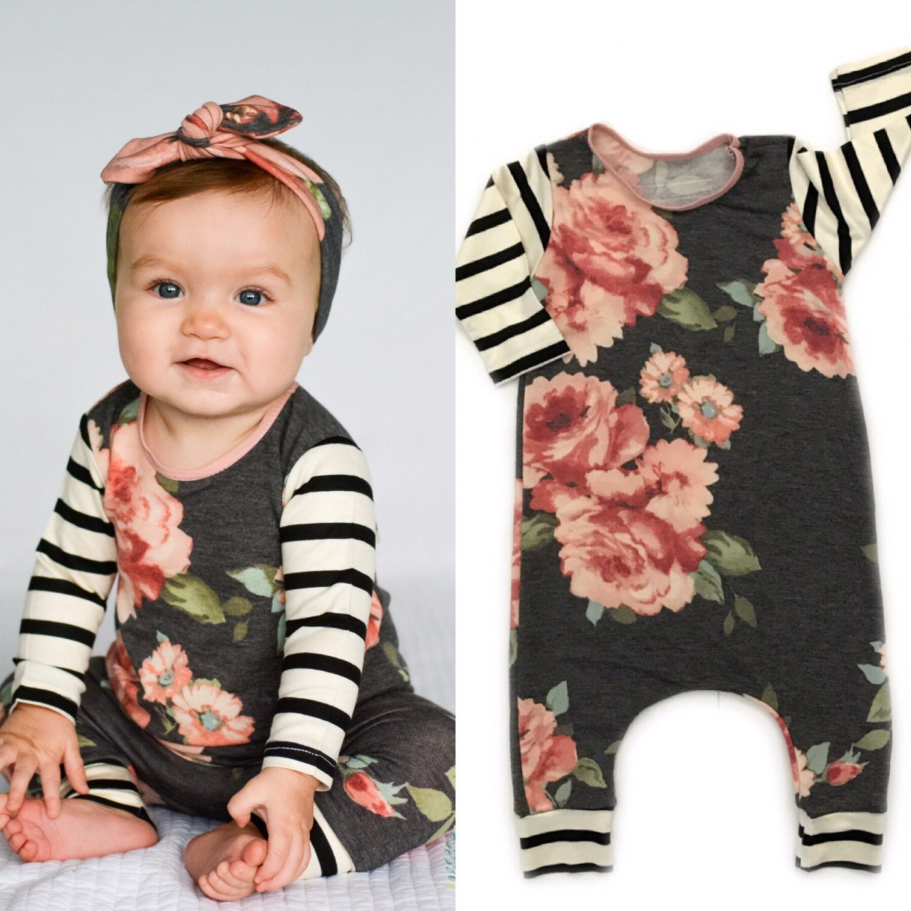 Charcoal Floral romper Baby stuff Pinterest