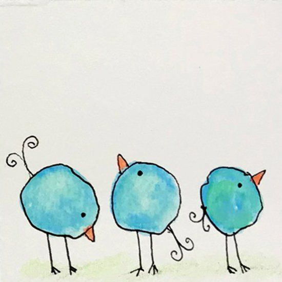 Whimsical Water Color Blob Birds (Craft Gawker) #easywatercolorpaintings Whimsic...