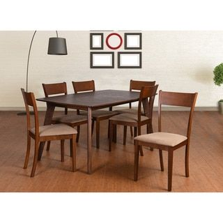 Olivia Mid-Century 7 Piece Extendable Dining Set, Brown - Free Shipping Today - Overstock.com - 18076063 - Mobile