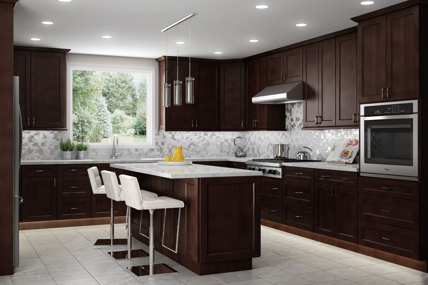 Gorgeous Mocha Shaker Cabinets All The Way To The Ceiling Espresso Kitchen Cabinets Brown Kitchen Cabinets Kitchen Cabinet Outlet