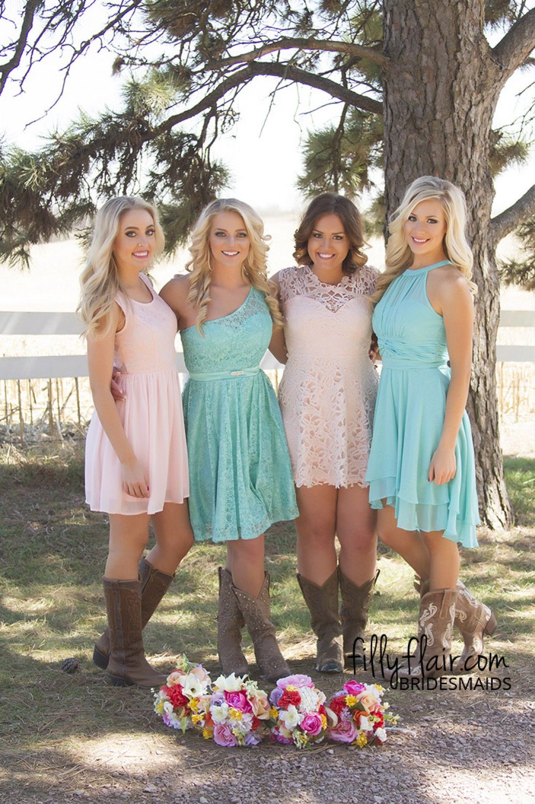 Bridesmaid dresses with boots are perfect for a country