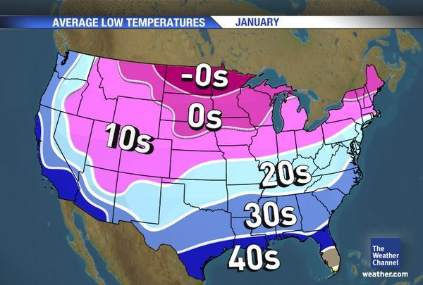 Us Low Temperature Map January Average Low Temps | Weather map, The weather channel
