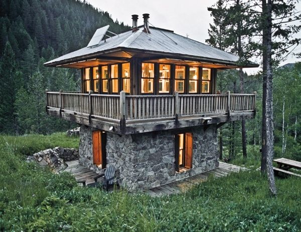 Stone Two Story Lookout Small Cabin Modern Tiny House Unique Houses Tiny House Movement