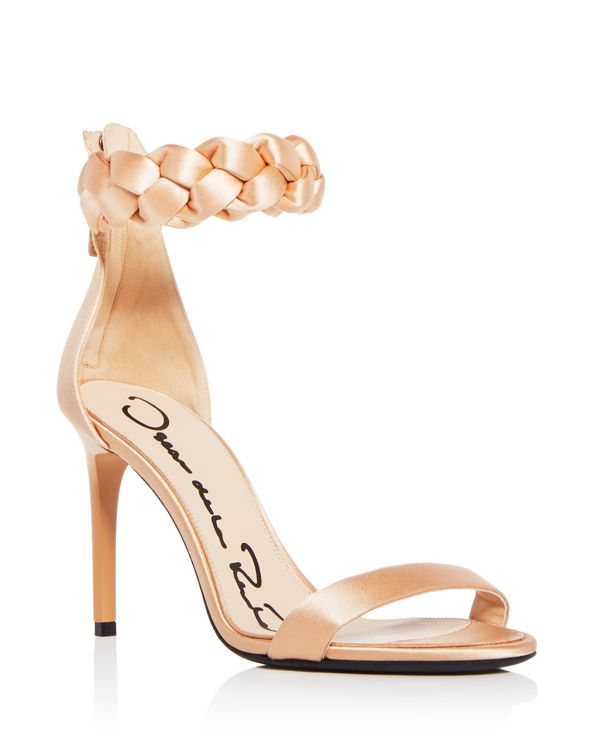 5a9d1923ca3e Oscar de la Renta Women s Brigit Braided Satin Ankle Strap High Heel Sandals