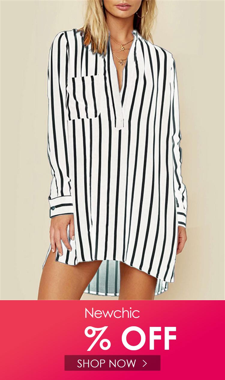 343ea1e2ef I found this amazing Chiffon Striped Printed Long Sleeve V-neck Shirt  Dresses with US 17.86
