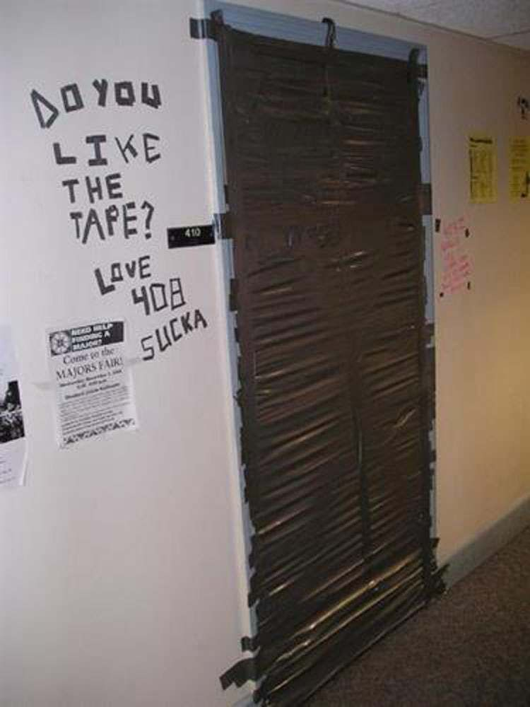The Classic Duct Tape Door Is Listed Or Ranked 21 On The List The Best College Dorm Room Pranks Of All Time C In 2020 Best Senior Pranks Senior Pranks School Pranks