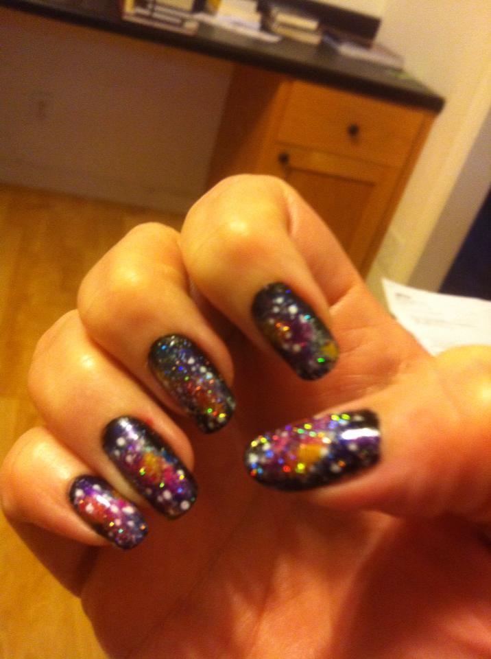 Better pic of my Galaxy nail art