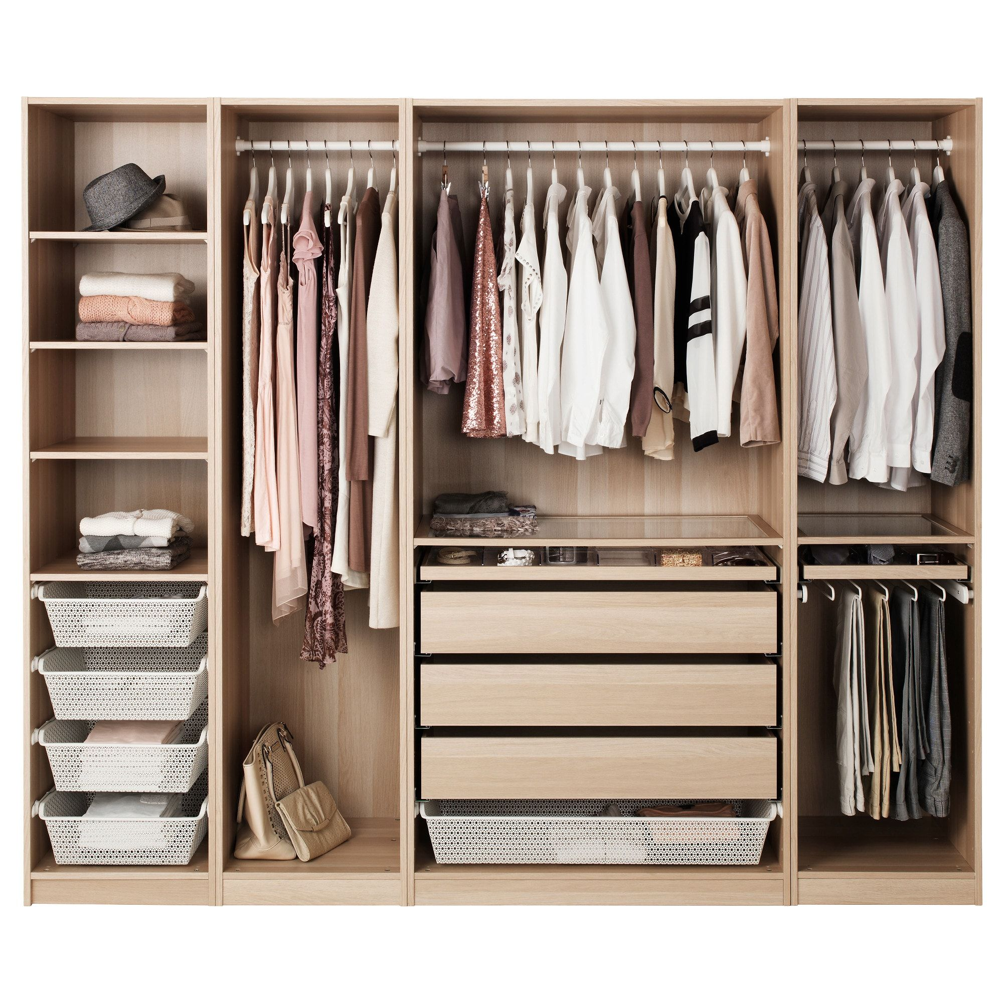 Pax Wardrobe White Stained Oak Effect 250x58x201 Cm In 2020