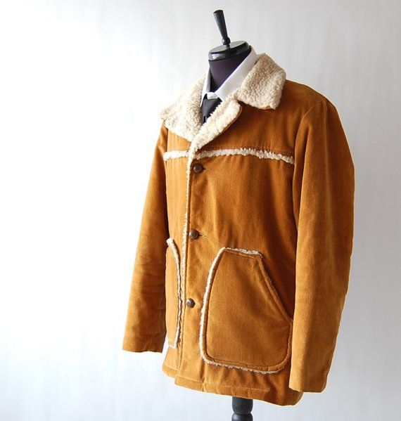 Mens Vintage Mustard Brown Faux Sheepskin Coat . Lumberjack . Soft ...