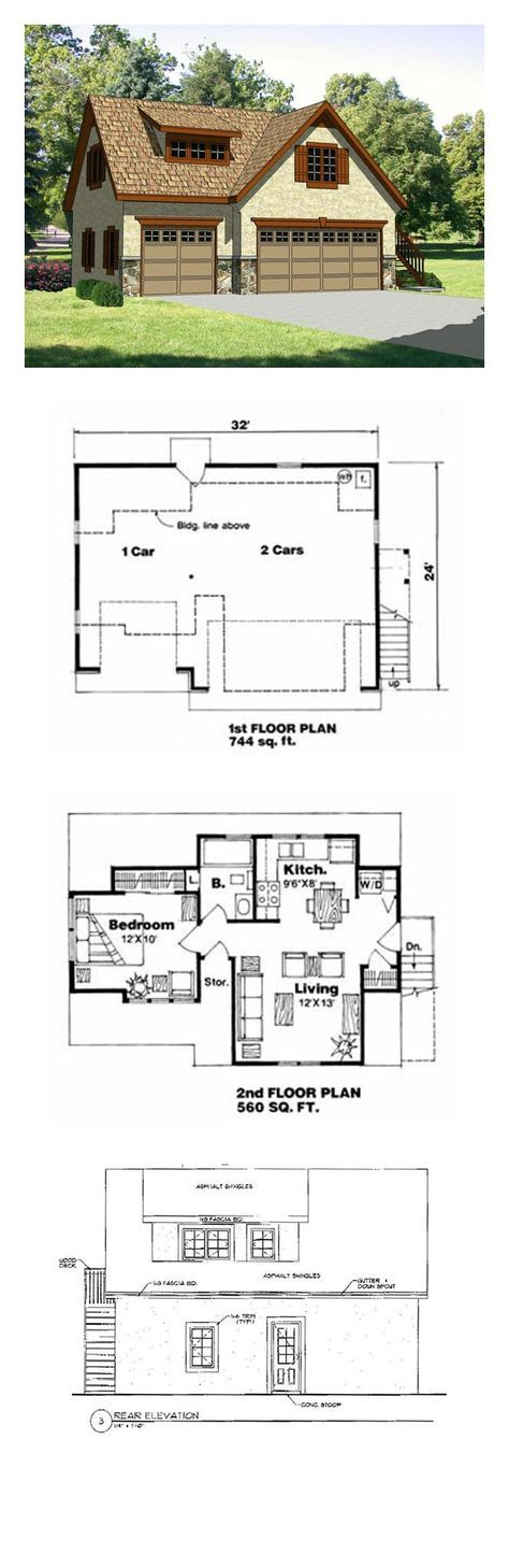 Garage apartment plan 94342 total living area 560 sq for Garage with living area