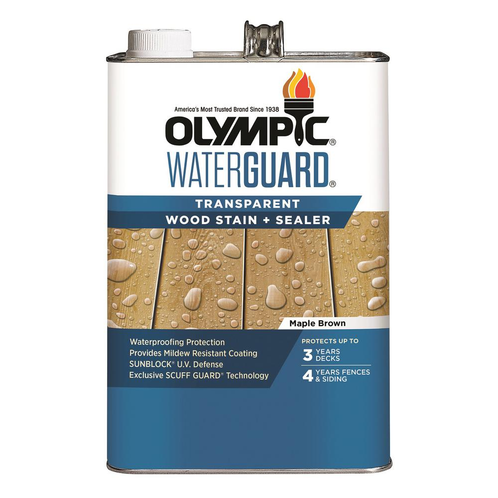 Olympic Waterguard 1 Gal Maple Brown Transparent Wood Stain And Sealer 55166 01 Staining Wood Staining Deck Wood Deck Stain