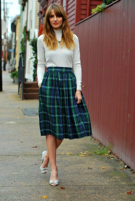 Lucky Reader Look Of The Day: Jess Ann Kirby's Plaid Midi Skirt ...