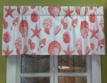 Seashell Curtains And Valances | Seashell Valance, Coastal Print Valance, Seashell  Curtains. Kitchen ...