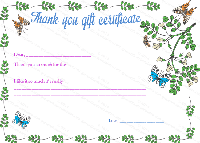 Gratitude Gift Certificate Template – Thank You Certificate Template