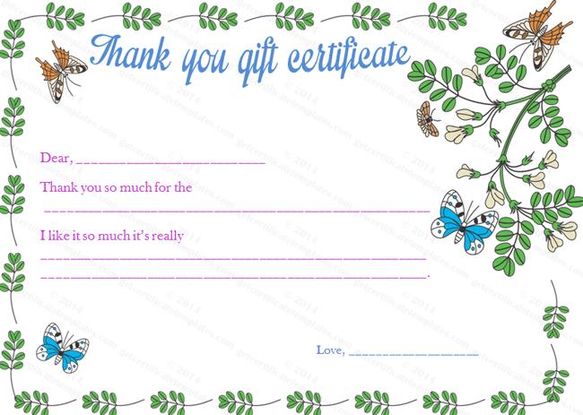 Gratitude Gift Certificate Template Beautiful Printable Gift - Thank you gift certificate template