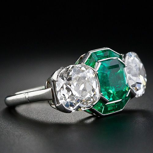 ring etsy pin estate three emerald jewelry stone vintage via