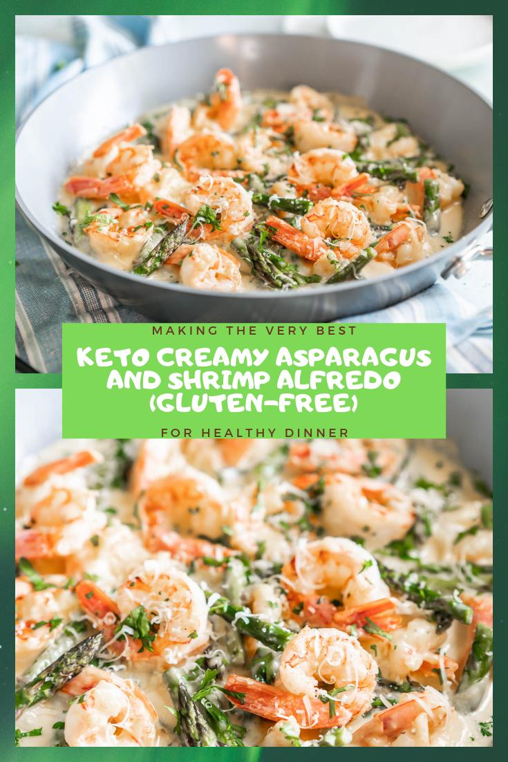 Keto Creamy Asparagus And Shrimp Alfredo Gluten Free
