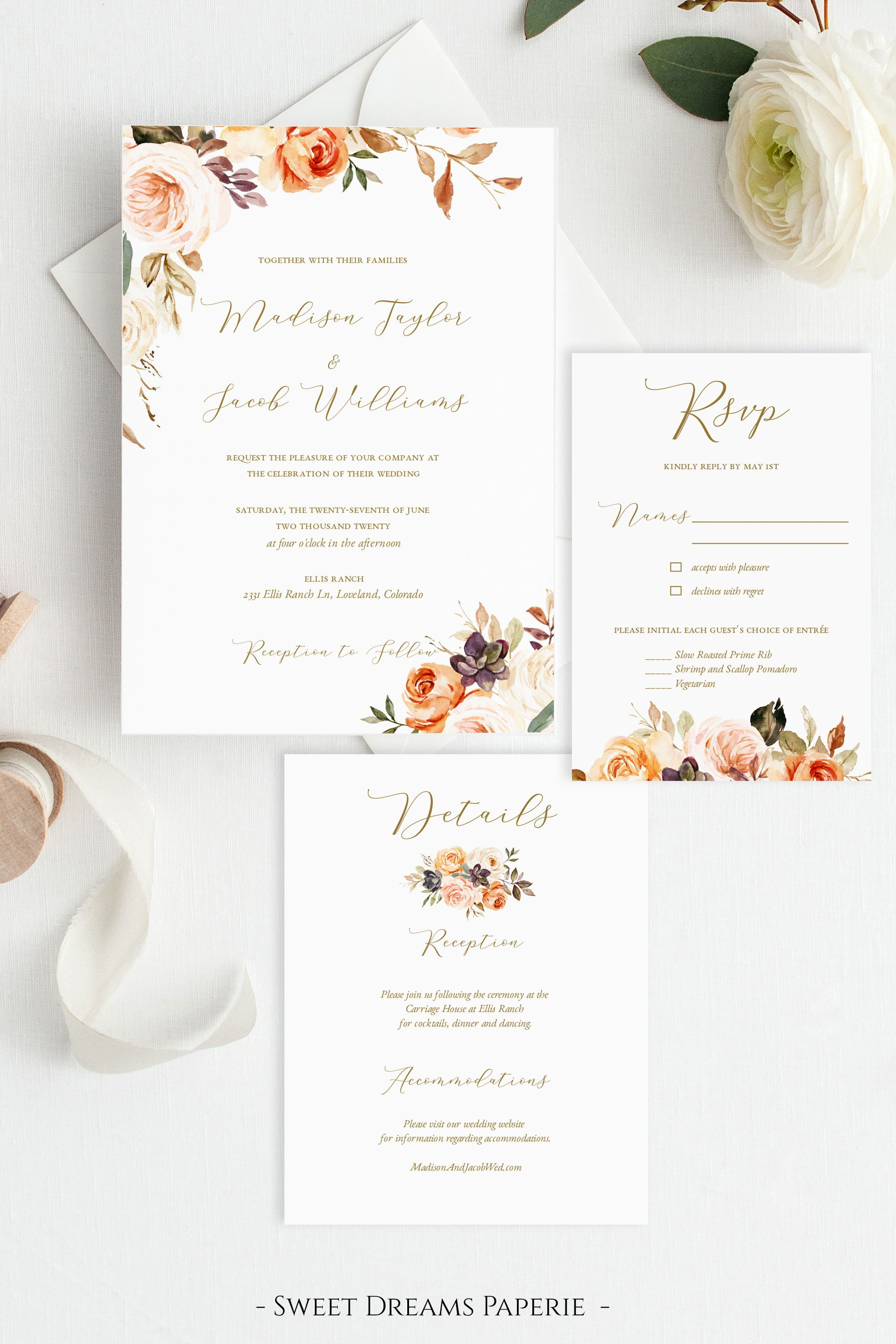 Fall Wedding Invitation Template Floral Wedding Invitation Etsy In 2020 Wedding Invitation Templates Fall Wedding Invitations Floral Wedding Invitations