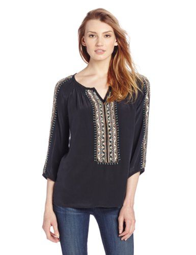 889d790b Nanette Lepore Women's Tipis Embroidered Long Sleeve Peasant Top ...