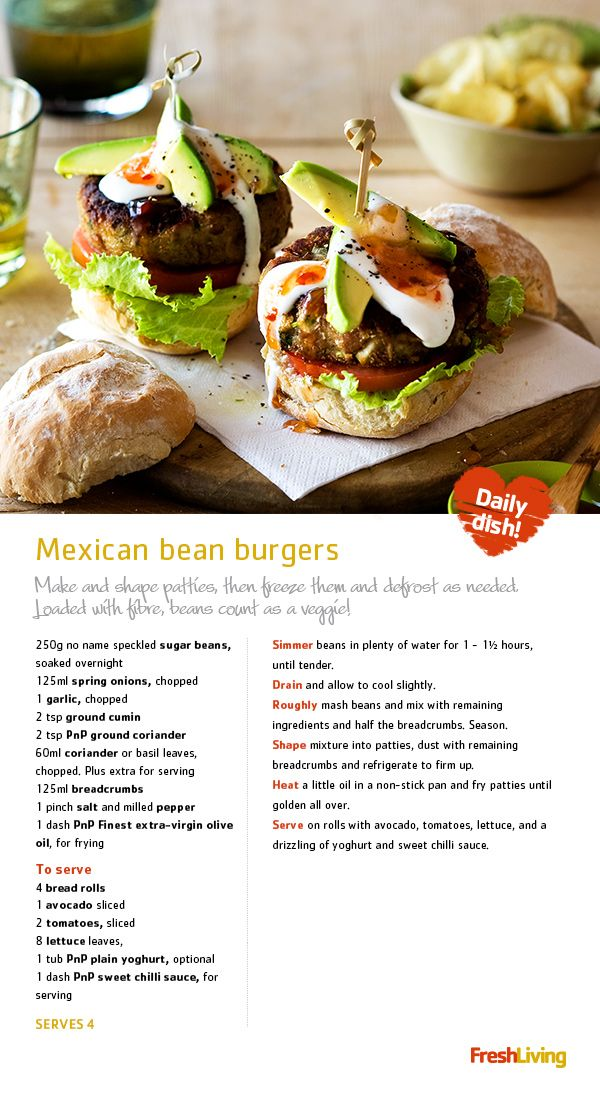 """""""It's a MEXICAN FIESTA! Prepare these veggie-loaded burgers and enjoy Meat-Free Monday.""""  #dailydish #picknpay #freshliving #burger"""