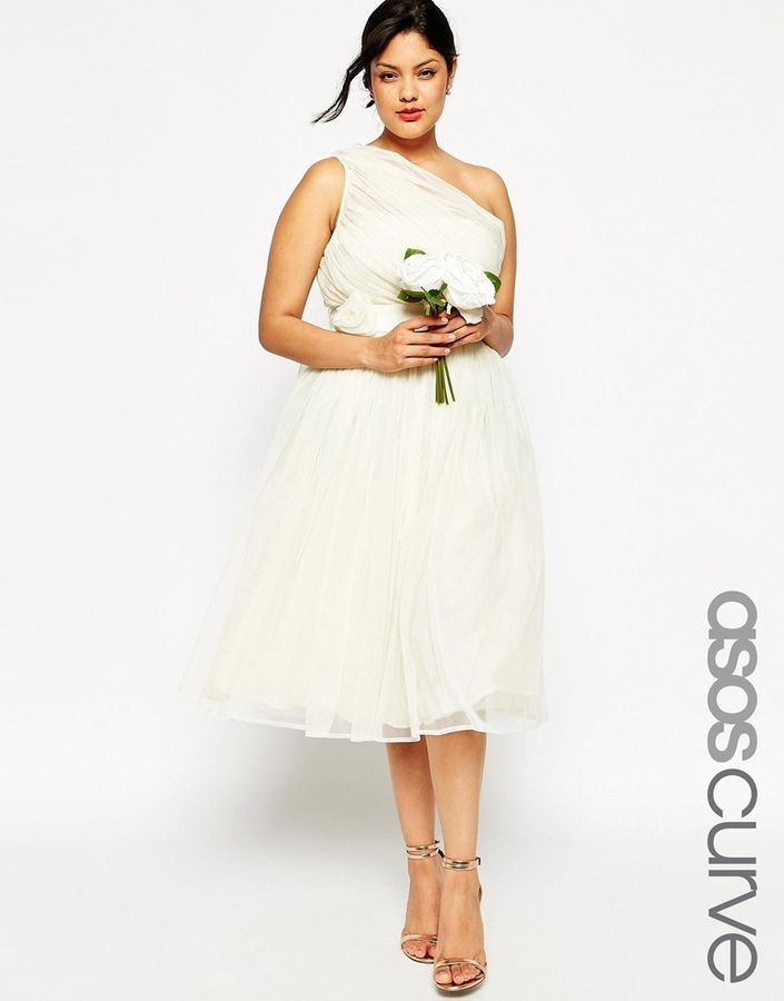 3f63bea5662 Plus Size Short Wedding Dress - Plus Size Mesh Midi Dress with One Shoulder    Corsage