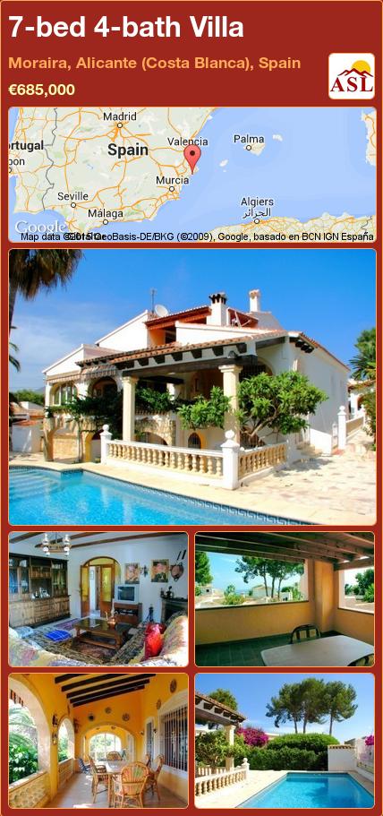 7-bed 4-bath Villa in Moraira, Alicante (Costa Blanca), Spain ►€685,000 #PropertyForSaleInSpain