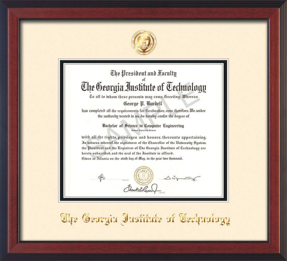 Georgia Tech Diploma Frame - Cherry Reverse - w/Embossed Seal & Name ...