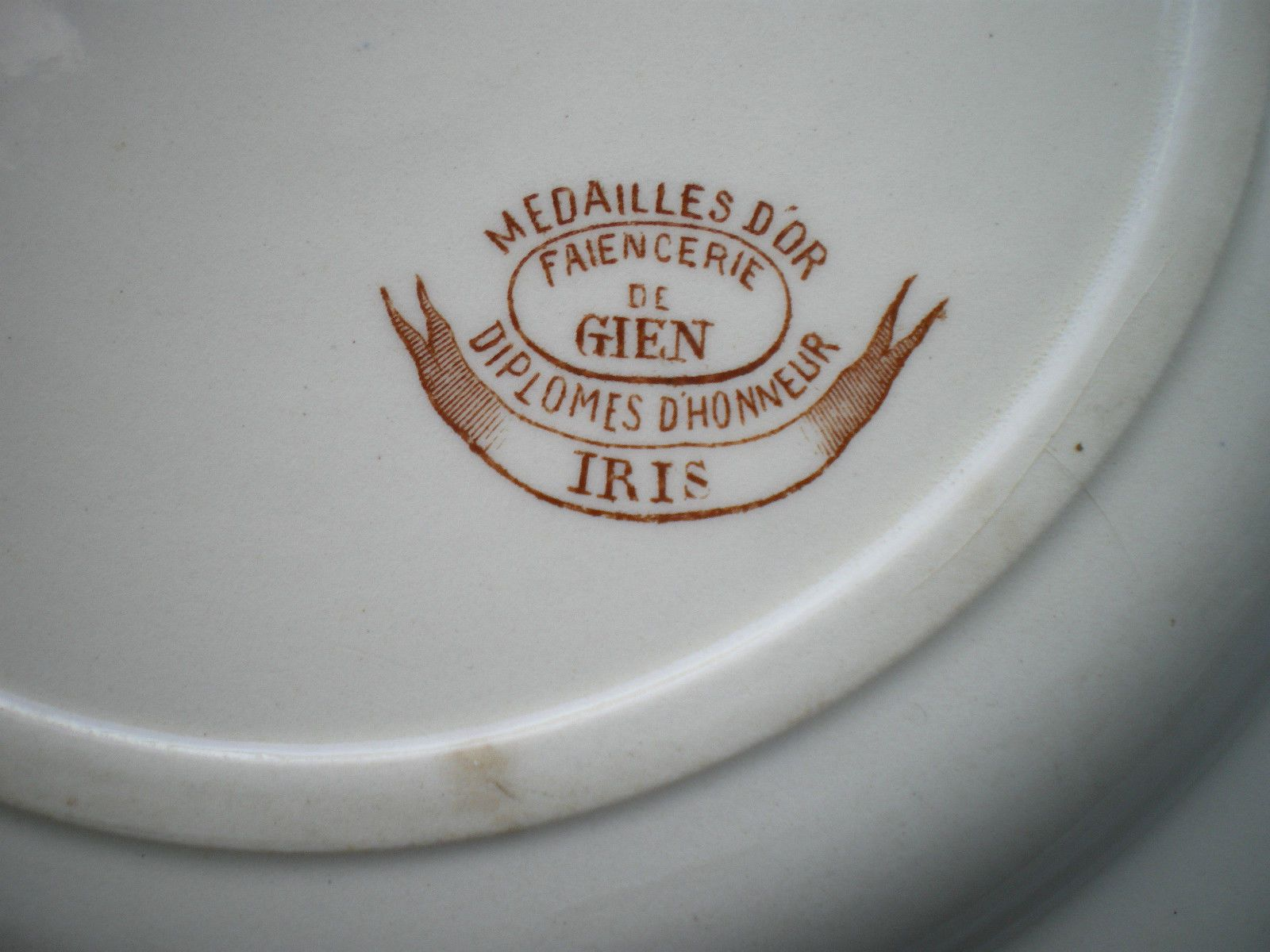 Assiette Terre DE FER Porcelaine Opaque Gien Iris ET Libellule Couleur Sépia | eBay