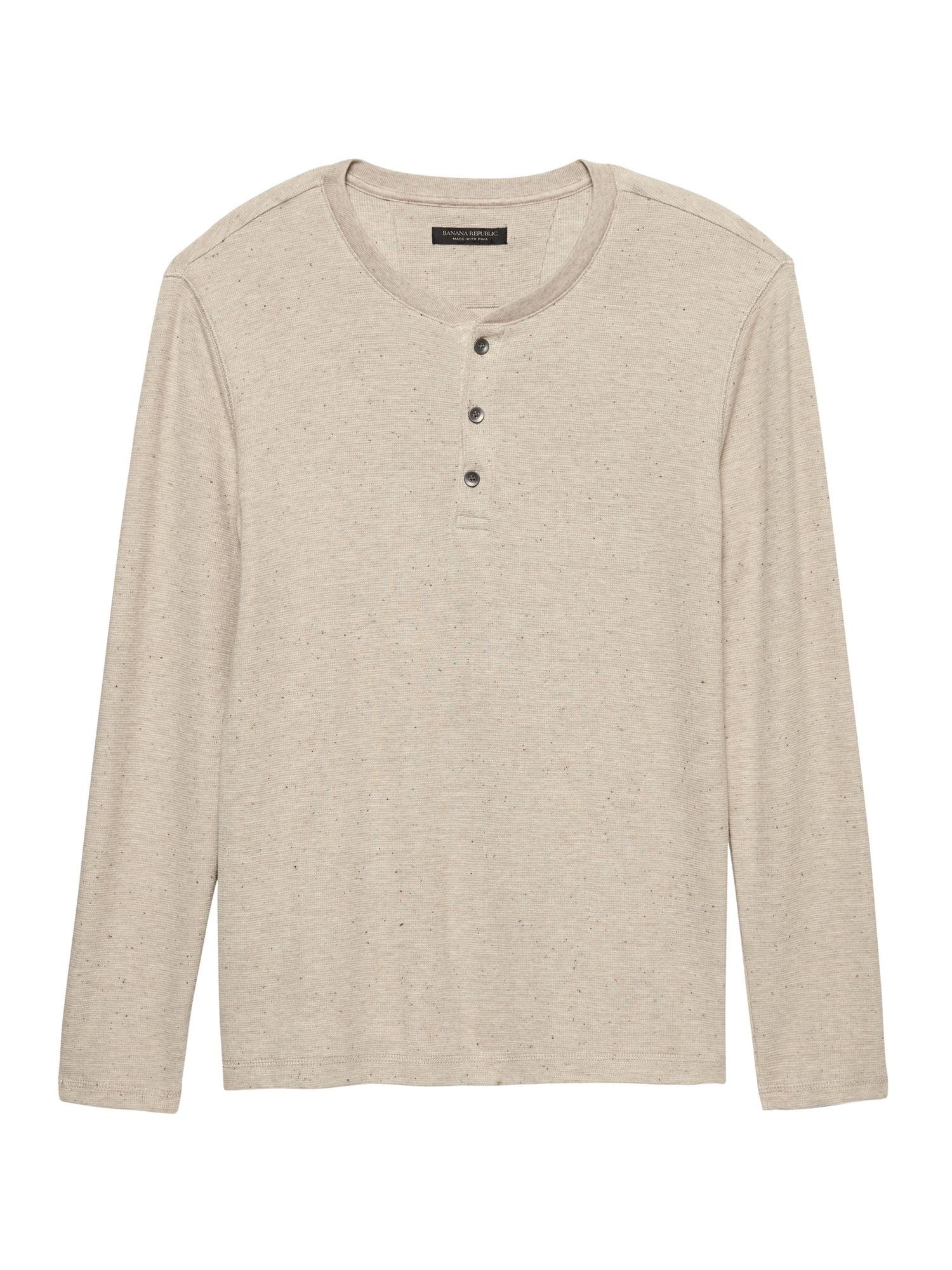 9821e24c7df Banana Republic Mens Waffle-Knit Henley Thermal T-Shirt Deep Sea Green