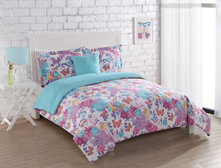 Pink Purple Turquoise Blue Butterfly Bedding Girl Comforter Set