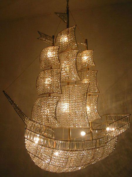Pirate ship chandelier.