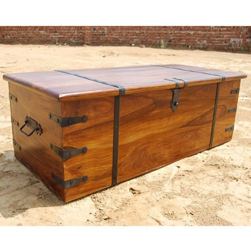 Superbe Large Solid Wood Storage Box Trunk Chest Coffee Table W Wrought Iron  Hardware | EBay