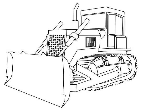 Bulldozer With Straight Blade Coloring Page : Coloring Sun ...