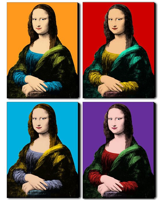 Superbe Mona Lisa fashion illustration art set of 4 by FashionArtStudio #KX_43