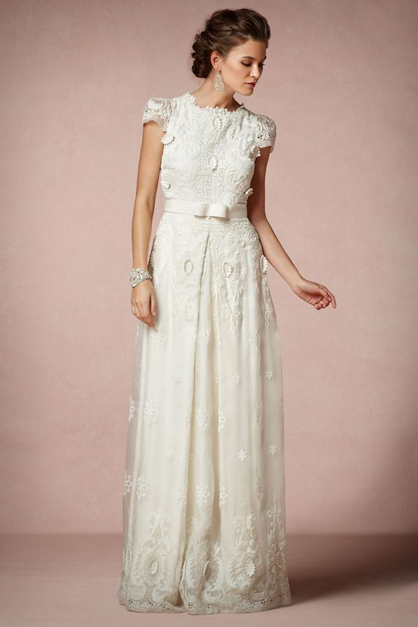embroidered and crocheted wedding dresses BHLDN